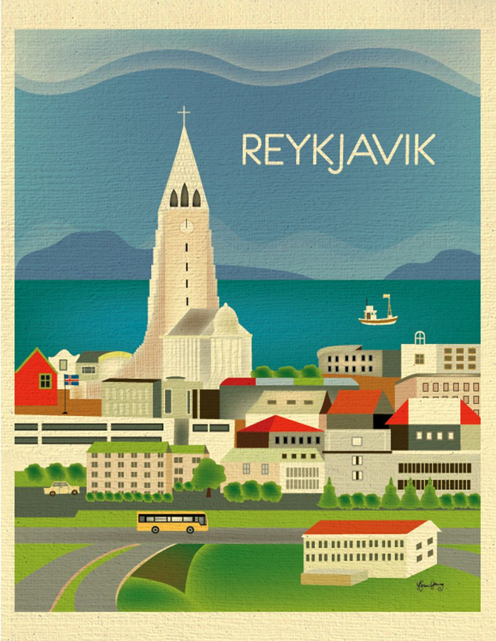 Reykjavik, Iceland Vertical Destination Travel Print - Travel Wall Art - for Home, Office, and Nursery - style E8-O-REY by loosepetals on Etsy