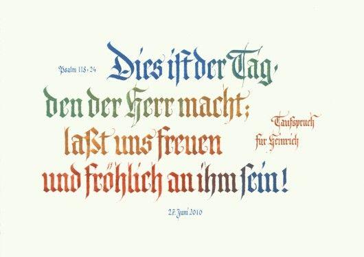 Taufspruch - Bibeltext - zur Taufe. Kalligrafie in Fraktur, in den ...