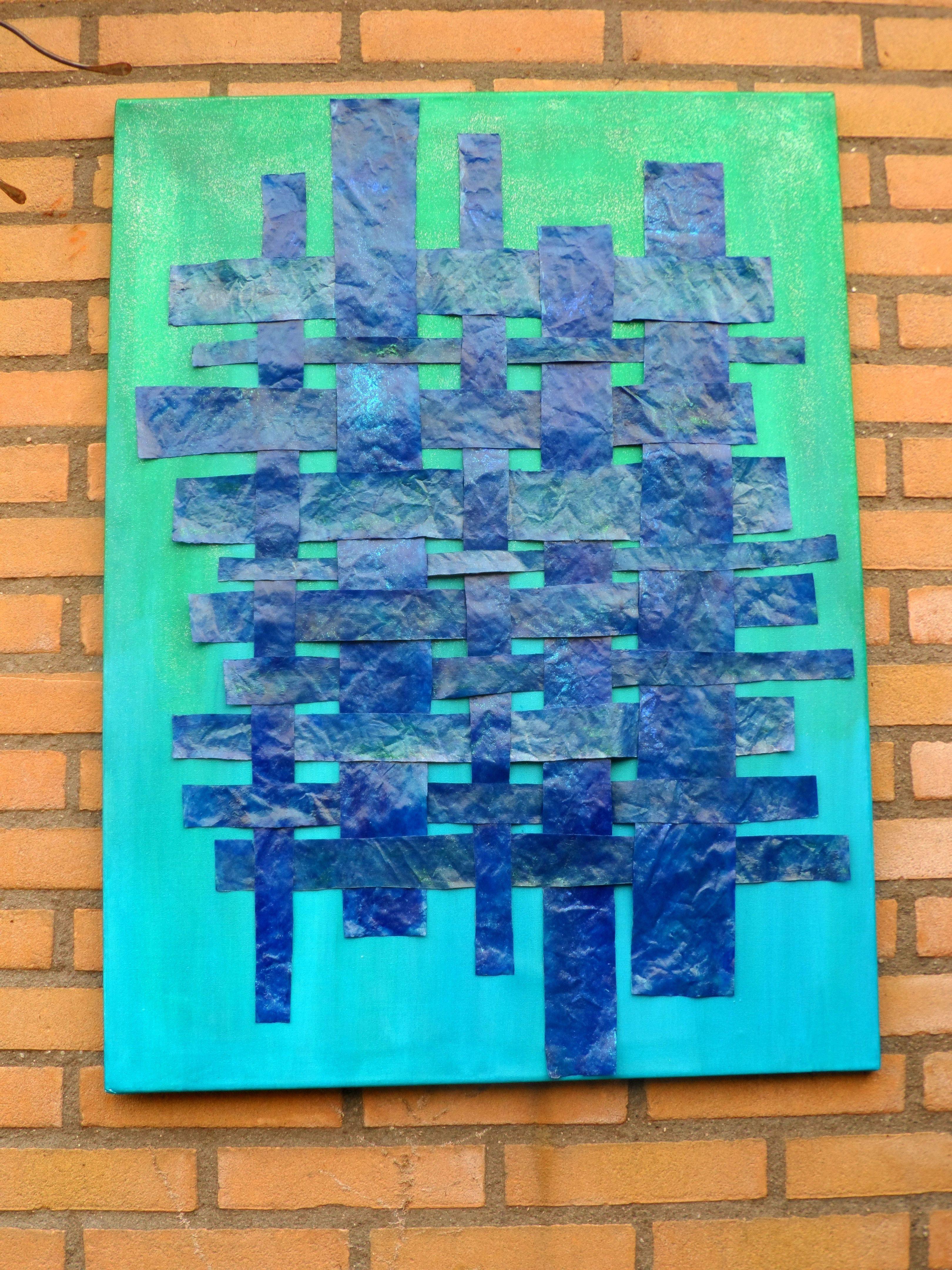 papier vlechten in blauw/groen op canvasdoek
