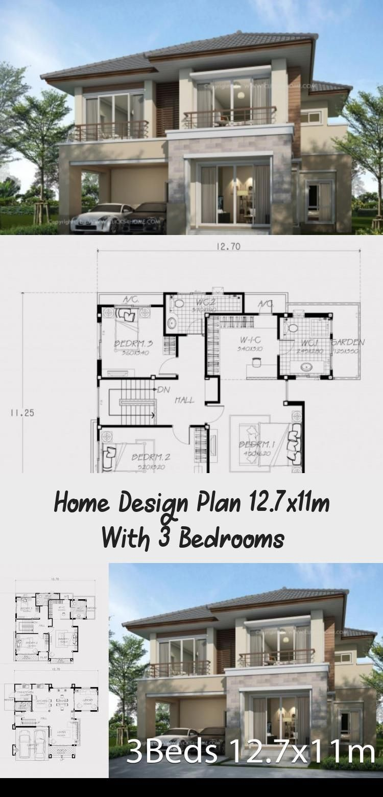 Home Design Plan 12 7x11m With 3 Bedrooms Home Design With Plan Modernhousesdrawing Modernhousesdoor In 2020 Home Design Plan House Design Contemporary Style Homes