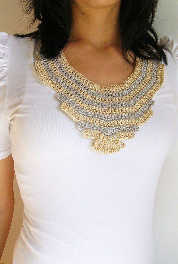 Crochet collar free pattern diy Collar tejido patrn gratis hazlo t