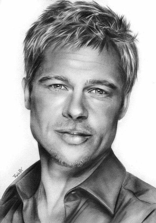 Portrait Brad Pitt By Taylerx Portrait Pencil Portrait Drawing Portrait Drawing