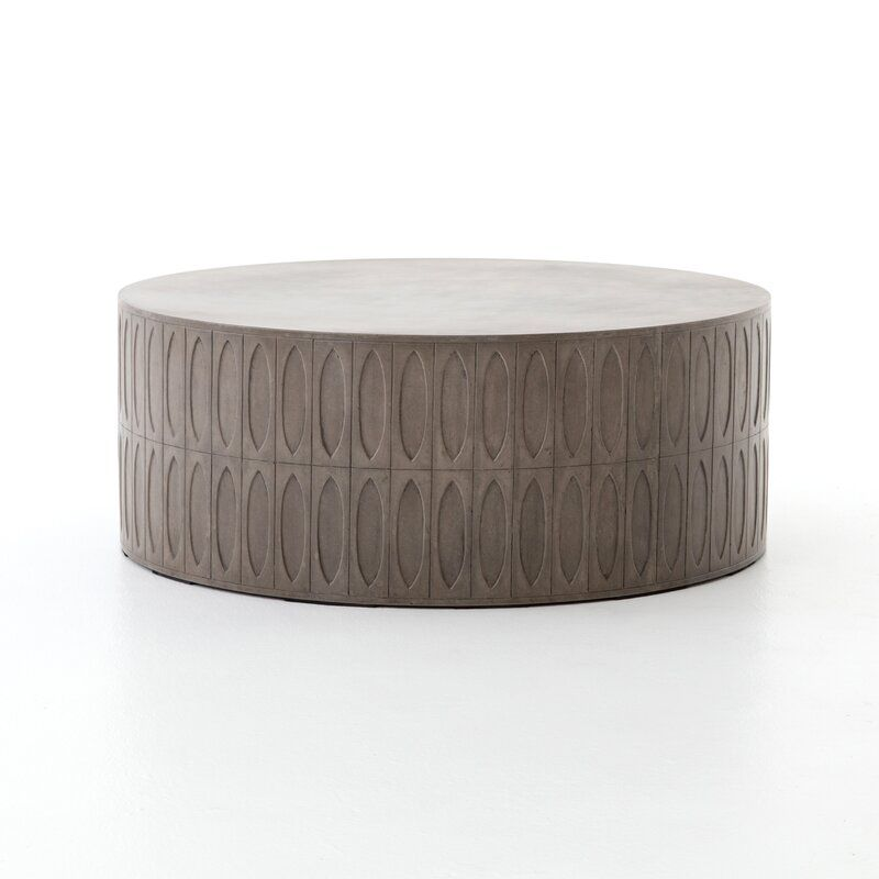 Blayze Stone Concrete Coffee Table Drum Coffee Table Concrete Coffee Table Solid Wood Coffee Table