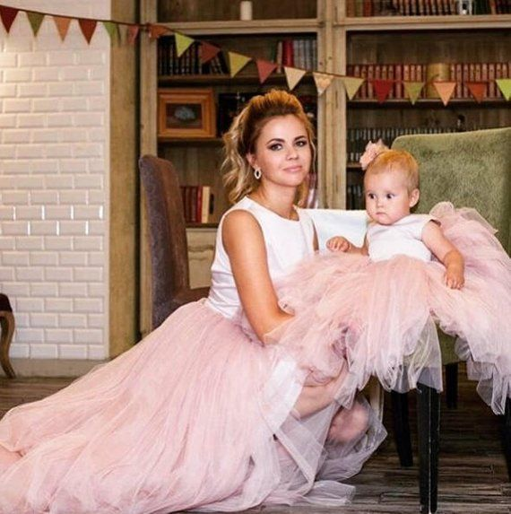 60994af8b35 Pink beige mother daughter matching dress tulle Mommy and me Christmas outfits  mommy and me dress bi