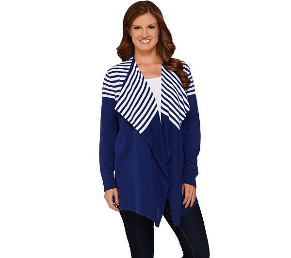 Layer on the style with this cute and comfy cardigan from Denim & Co. Stripes at the top give the design an updated look and feel. QVC.com