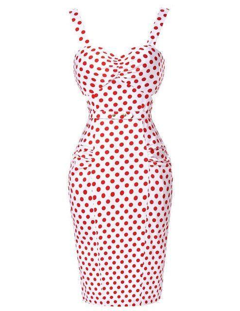 bd032afedc21b Womens sexy Dresses party night Club dress Summer beach Bodycon Plus Size  50s Vintage Ladies Clothing Red Pencil Polka Dot Dress