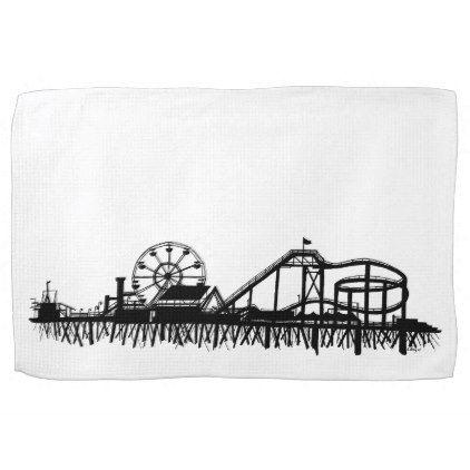 California Santa Monica Ca Iconic Pier Silhouette Towel Beach