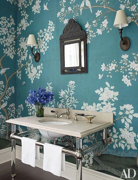 Powder Rooms Sure To Impress Any Guest Room Inspiration Decor Gracie Wallpaper
