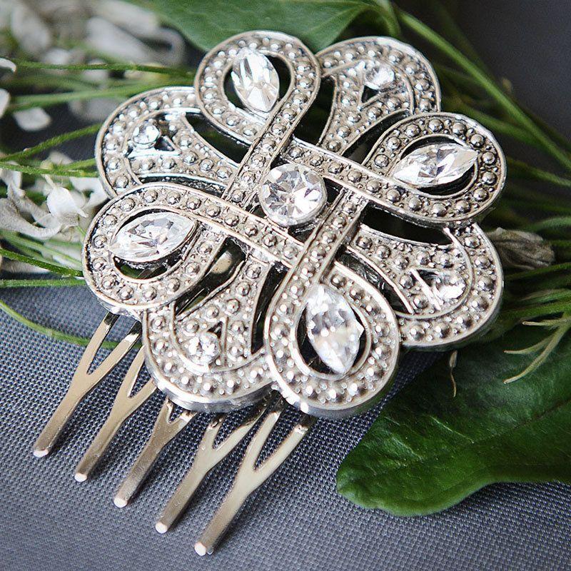 Victorian Style Wedding Hair: KATHIA, Vintage Style Bridal Oval Crystal Hair Comb