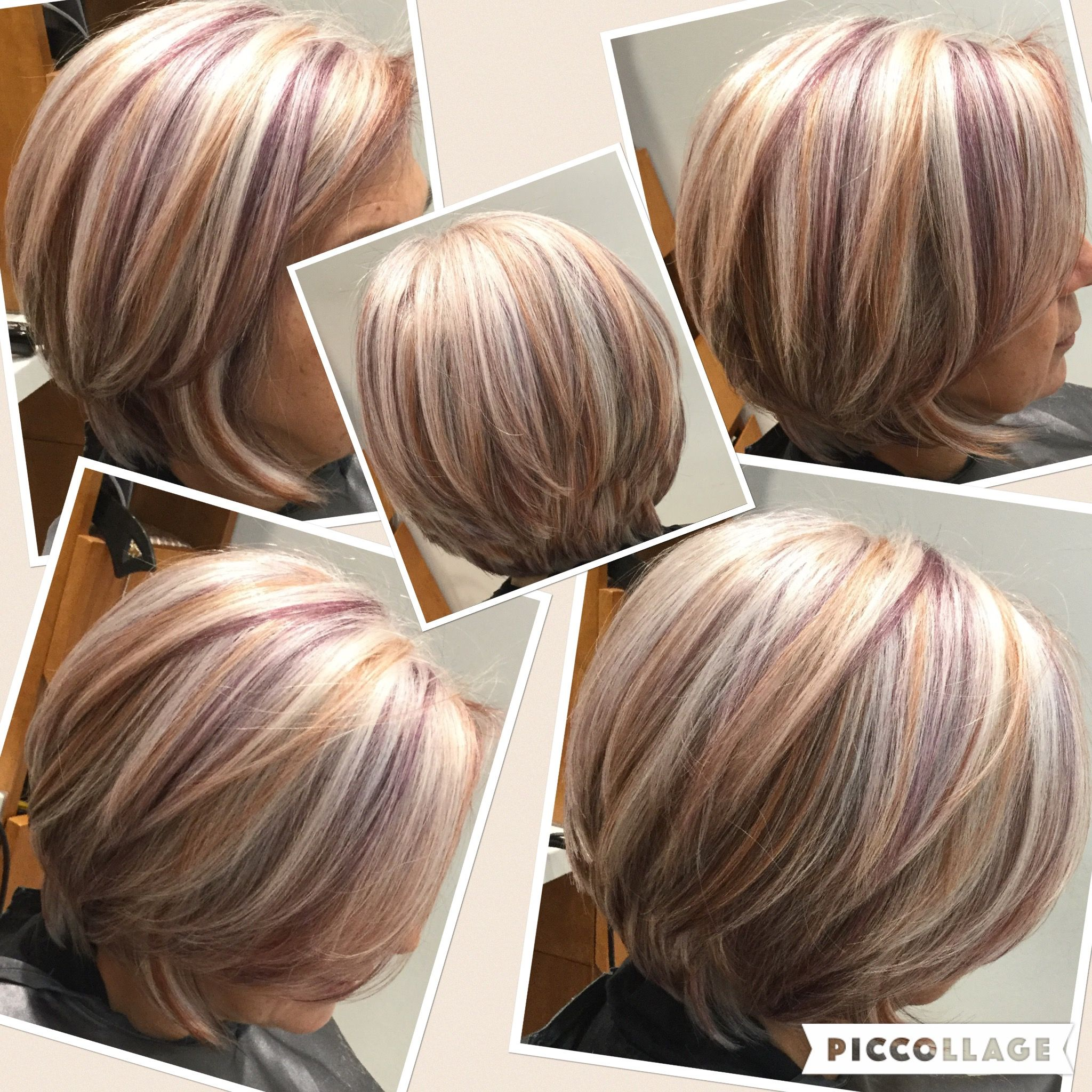 100white hair with copperand purple low lights