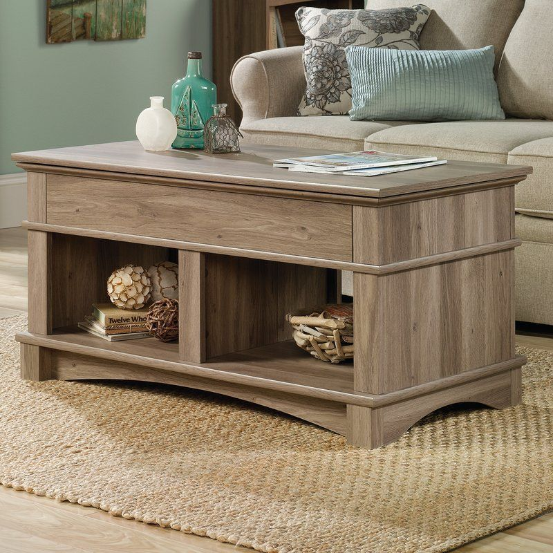 Vintage Coffee Table Bookcase Lift Top Living Room Organizer Storage Furniture
