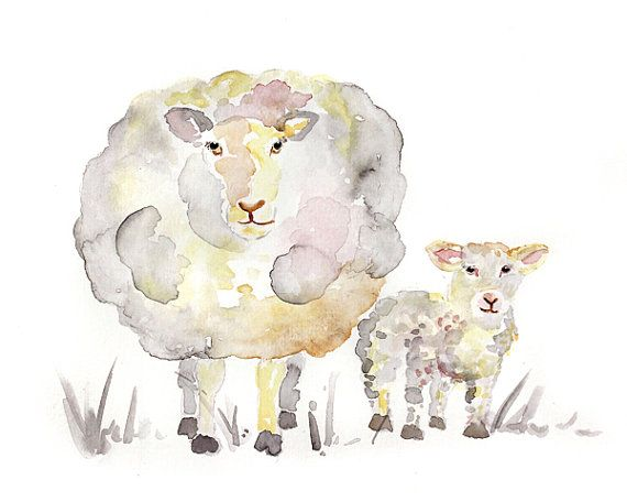 Sheep Art Print Baby Animal Painting by LightheartedDreamer, $17.00