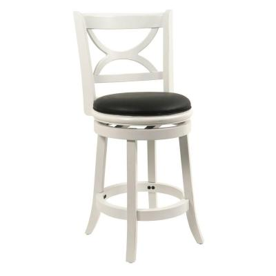 Boraam Florence 24 In Distressed White Swivel Cushioned Bar Stool