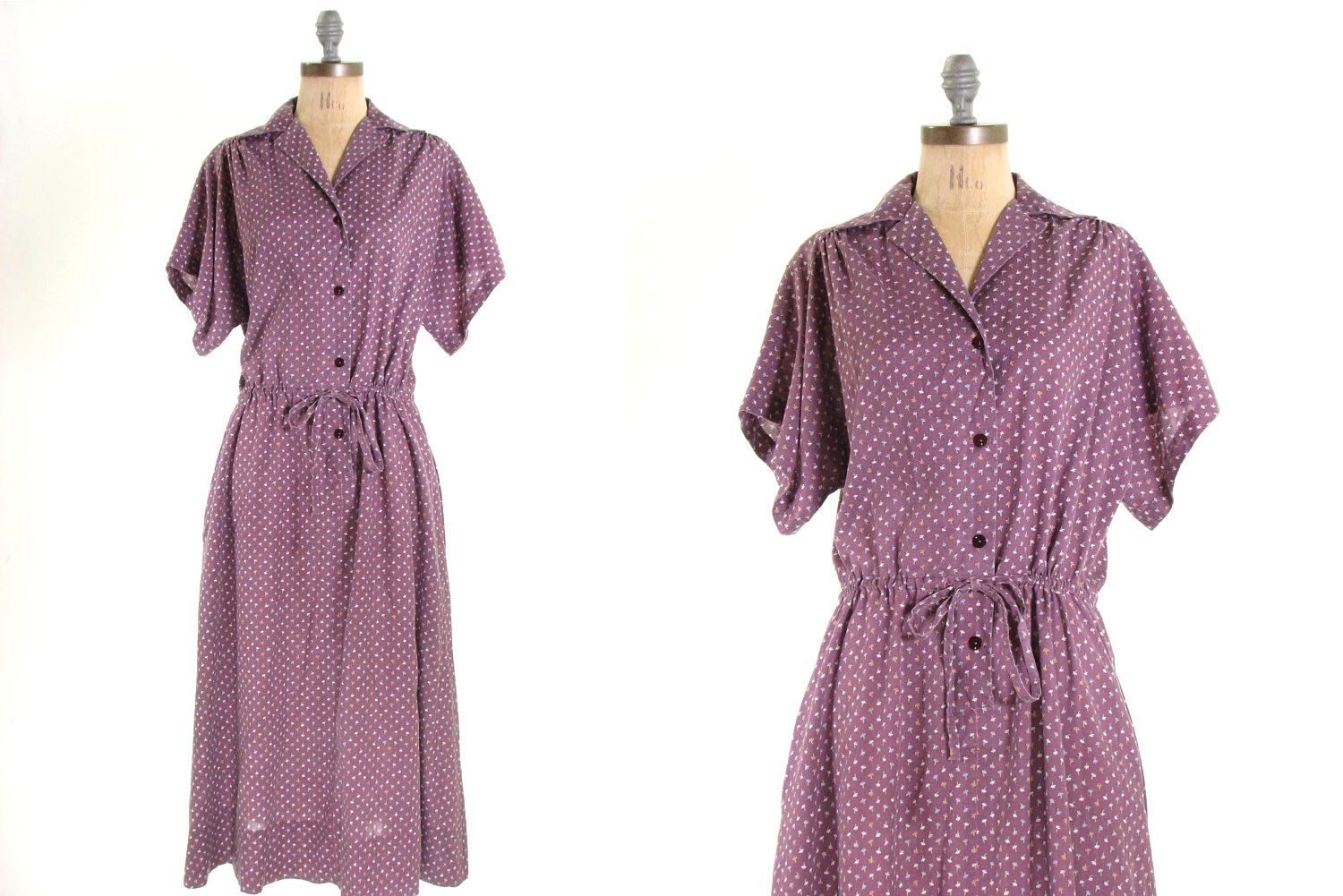 Purple Floral Cotton Tie Waist House Dress