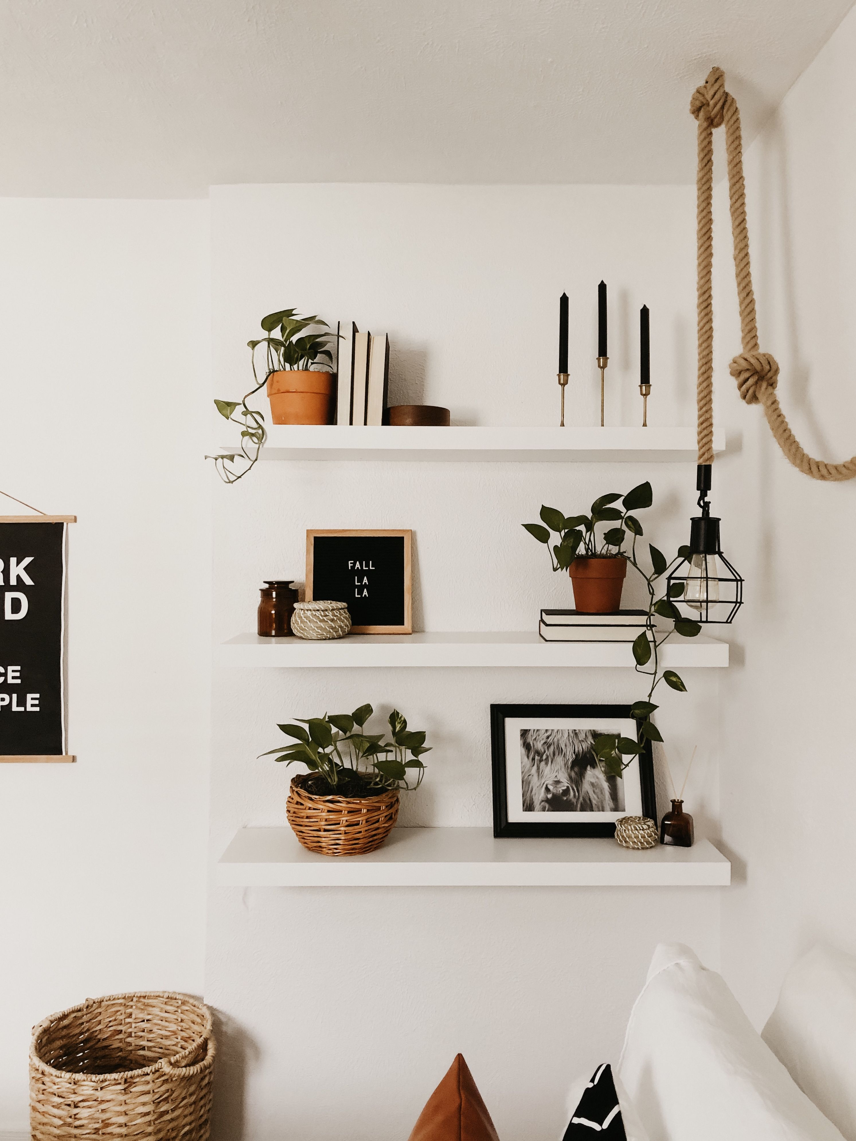 Simple Decorations To Put On Floating Shelves Boho Bedroom