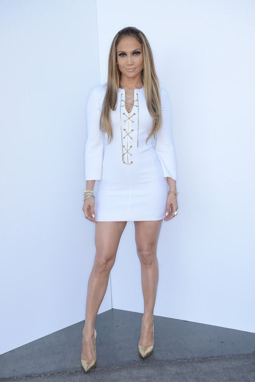 Jennifer Lopez Wearing A Michael Kors Dress And Casadei