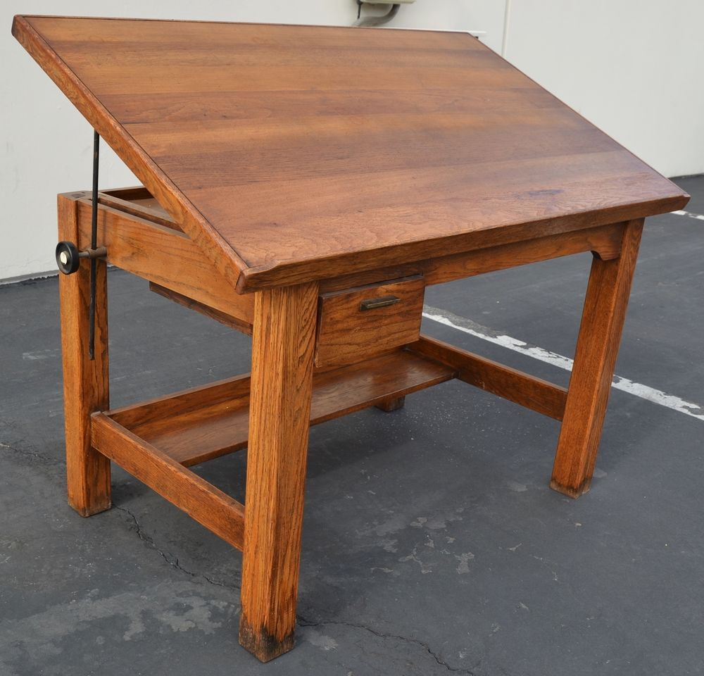Antique Oak Drafting Table Desk Arts and Crafts Mission Architect Craftsman  WOW! - Antique Oak Drafting Table Desk Arts And Crafts Mission Architect