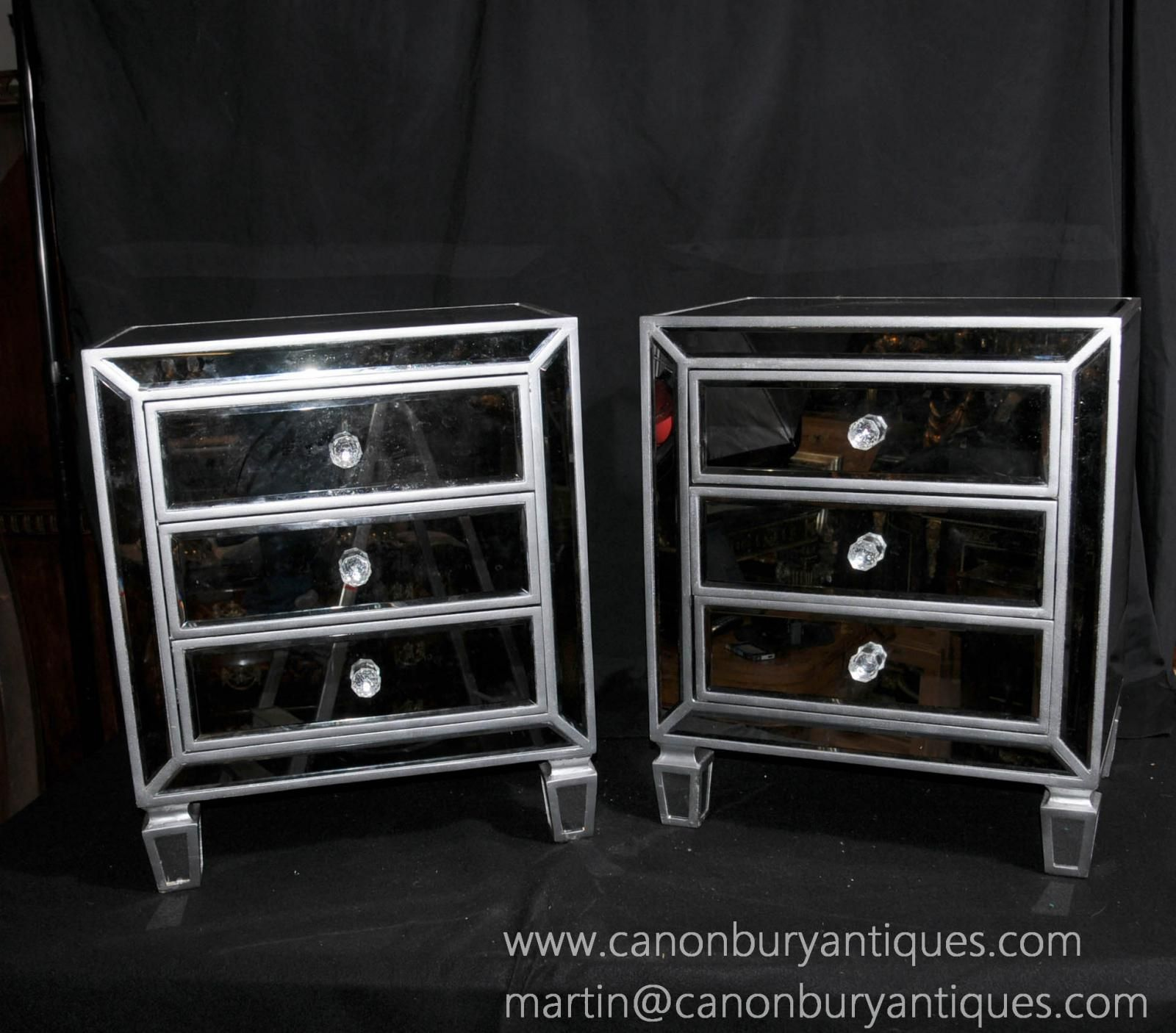 Photo Of Pair Deco Mirrored Bedside Chests Nightstands Mirrors Furniture