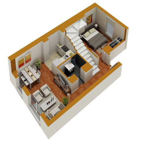 Tiny house floor plans small residential unit 3d floor for Small house plan design 3d