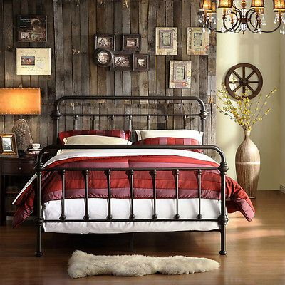 Iron Bed Frame Antique Vintage Metal Twin Queen Rustic Furniture Black Brown