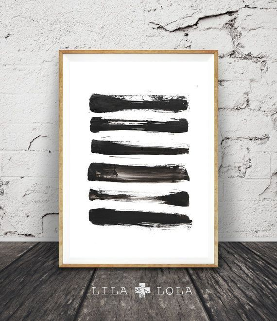 Brush Stroke Print, Black and White Abstract Wall Art, Printable Instant Download, Modern Minimal Ink Painting, Home Decor, Simple Design - #abstract #black #brush #print #printable #stroke #white - #HowToHomeDecorInteriors