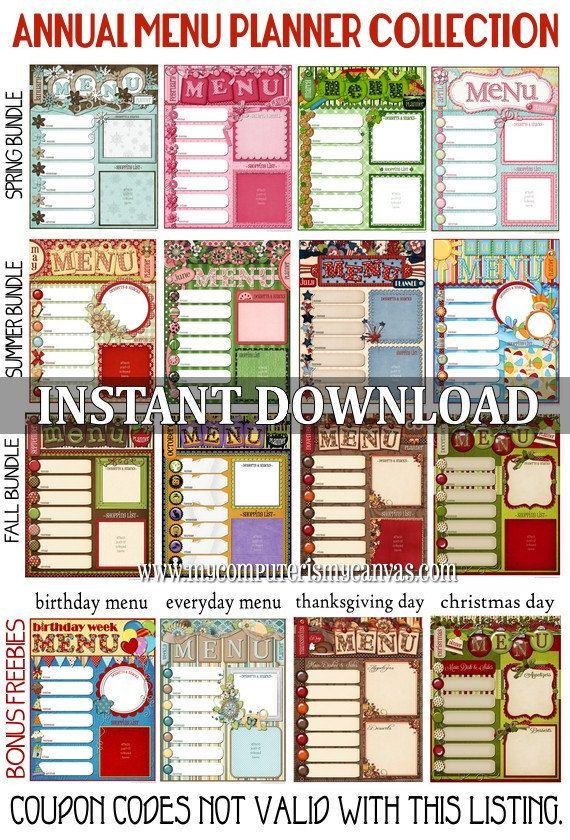 17 Best images about Menu planners including lots of free – Menu Calendar Template