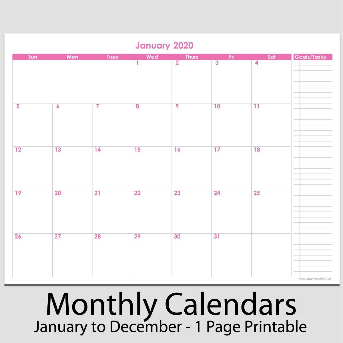 "2020 12 month calendar with tasks 8 1 2"" x 11 2020 12 ..."