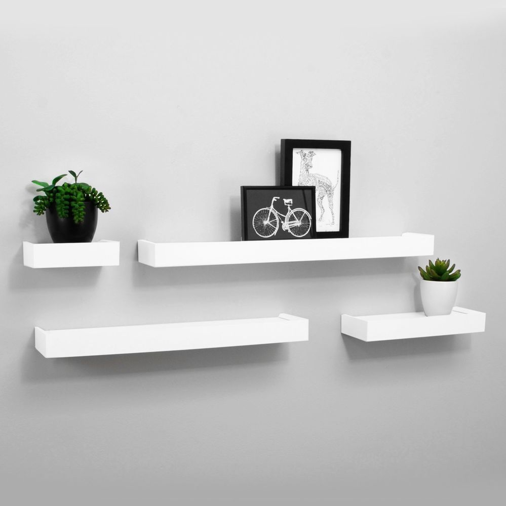 Kiera Grace Vertigo Set Of 4 White Wall Shelves Bookshelf 6 12 20 24 Home Kieragrace Contemporary Shelves Study Room Decor Wall Decor Bedroom