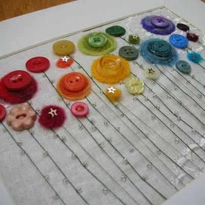 Teach your child how to sew buttons while creating a lovely piece of framable art.