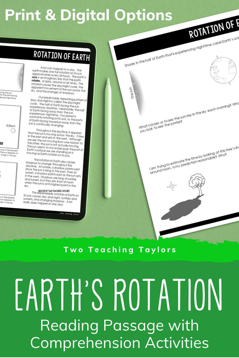 Predownload: Rotation Of Earth Reading Passage With Comprehension Activities Upper Elementary Science Elementary Science Classroom Reading Passages [ 1500 x 1000 Pixel ]