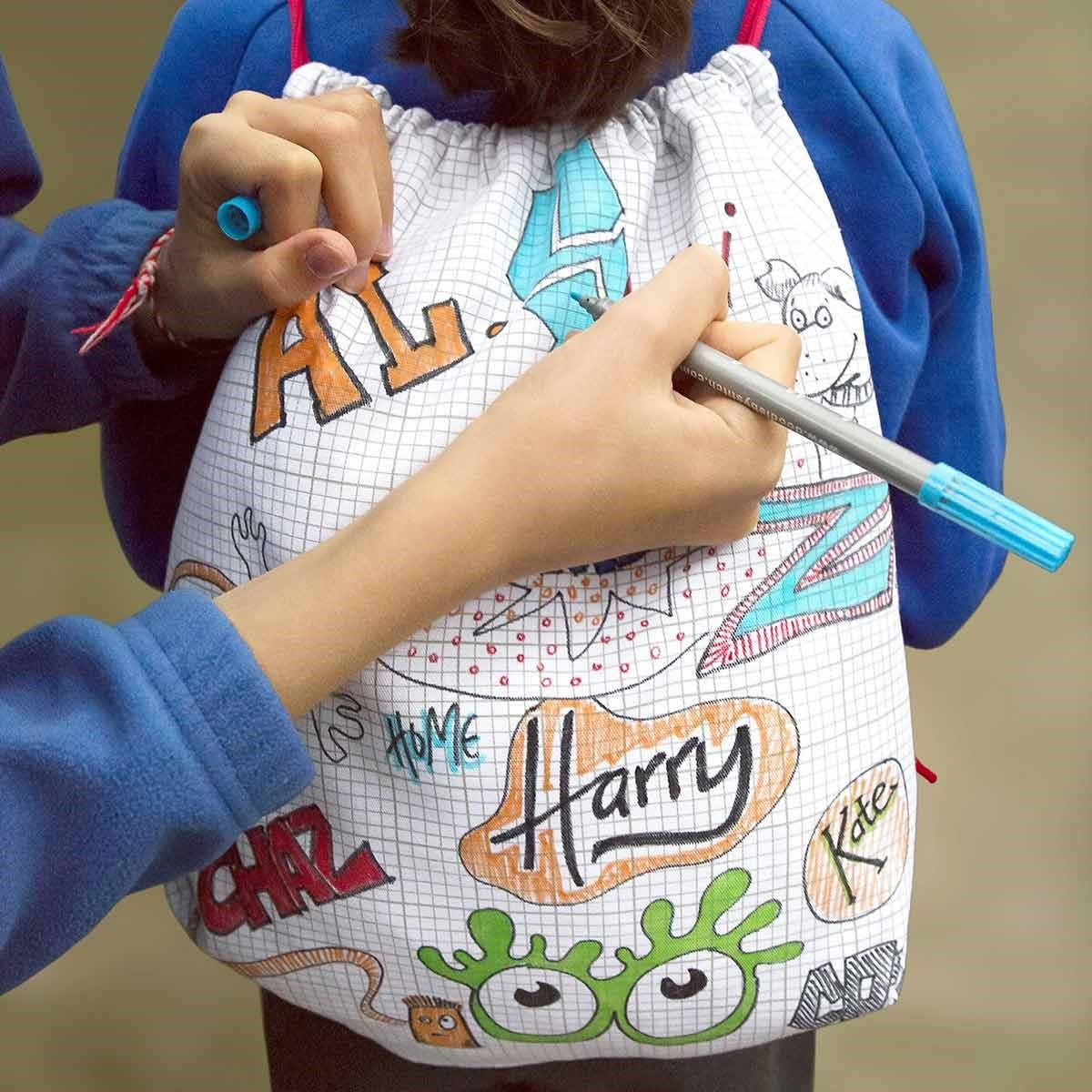Doodle drawstring backpack let your creative side out