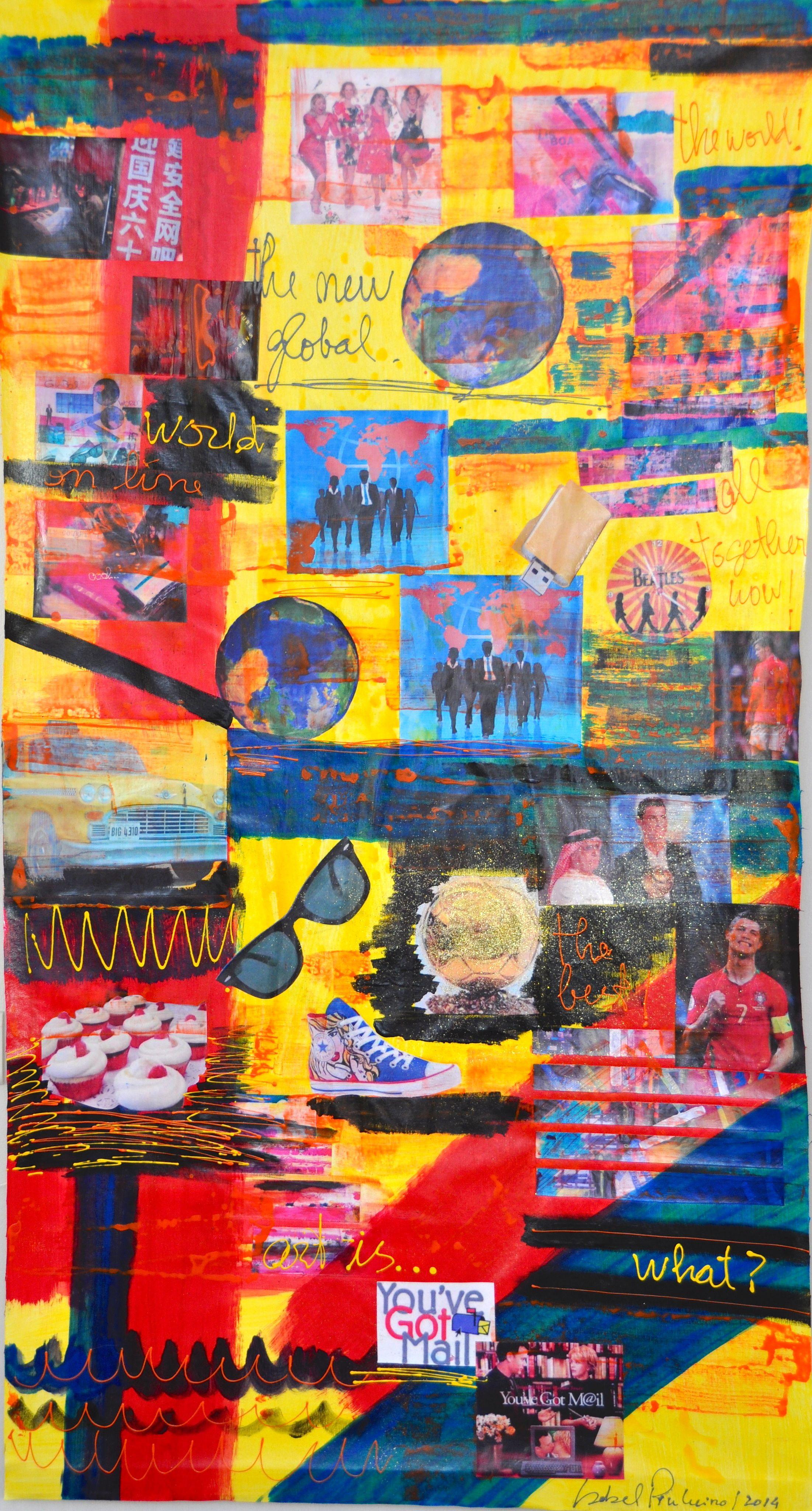 """""""THE NEW GLOBAL"""" - 160alt.x90larg. Técnicas mistas. Acrílico sobre tela, colagens, etc. Outras obras de ISABEL PINHEIRO em http://www.Facebook.com/ISABELPINHEIROARTE"""