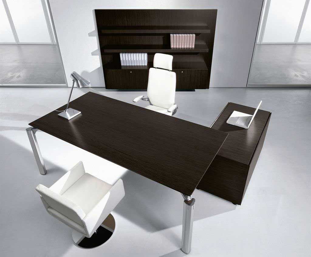 Stunning Black Solid Wood Modern Executive Desk And Storage With