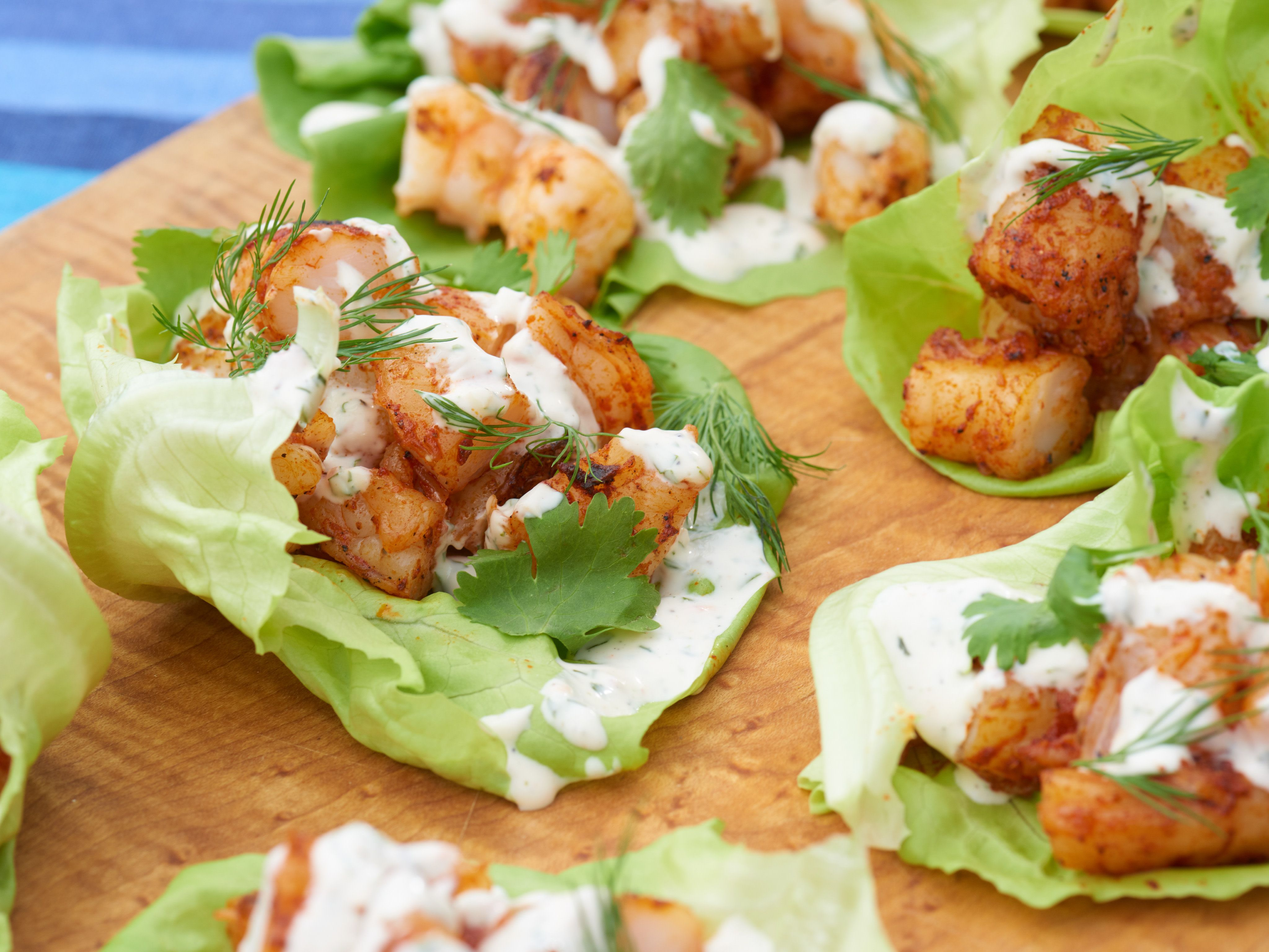 Grilled Shrimp Lettuce Cups with Creamy Herb Sauce