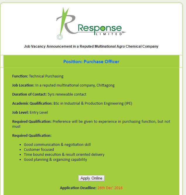 Response Limited Purchase Officer Job Circular  Vacancy  Job