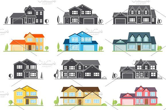 Vector flat icon suburban american house by sivvector on creativemarket also rh co pinterest