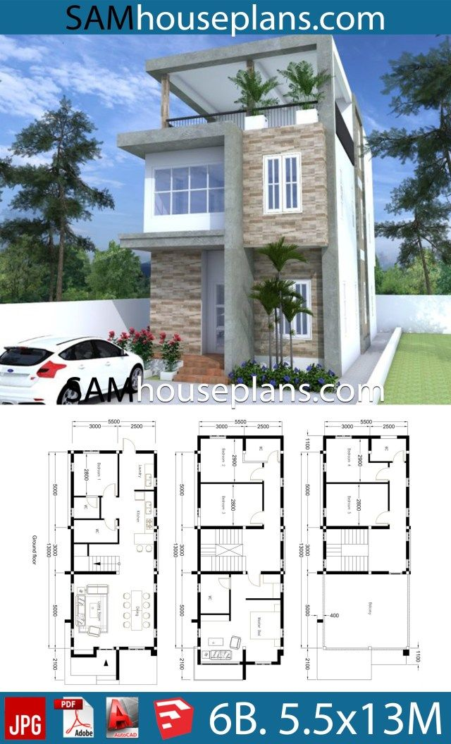 House Plans 5 5x13 With 6 Bedrooms Sam House Plans House Construction Plan Narrow House Plans Model House Plan