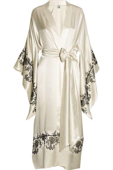 77c6460f45bb Handmade Ivory silk-satin Black piping and lace applique, draped kimono  sleeves, waist sash Slips on 100% silk Dry clean