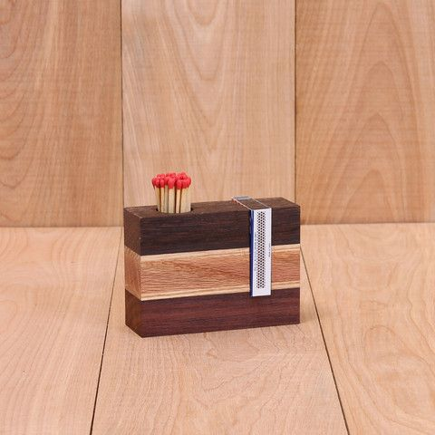Hand Made Wooden Match Holder & Striker. NY Times top Xmas gifts! #brooklynmade