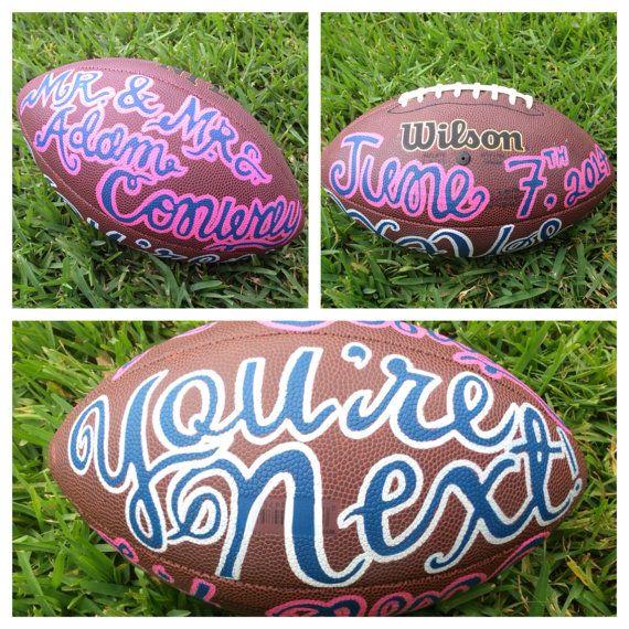 Fun Customized Wedding Football For Garter Toss By