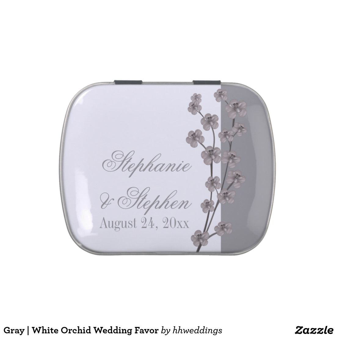 Gray | White Orchid Wedding Favor Candy Tins | Wedding : Candy Tin ...