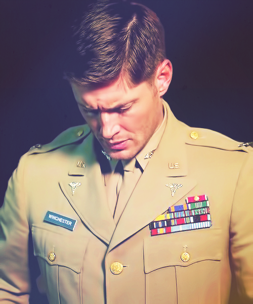 Army!Dean #Supernatural #PacManFever ~ Wait, wait. Lemme get my olive colored hanky.