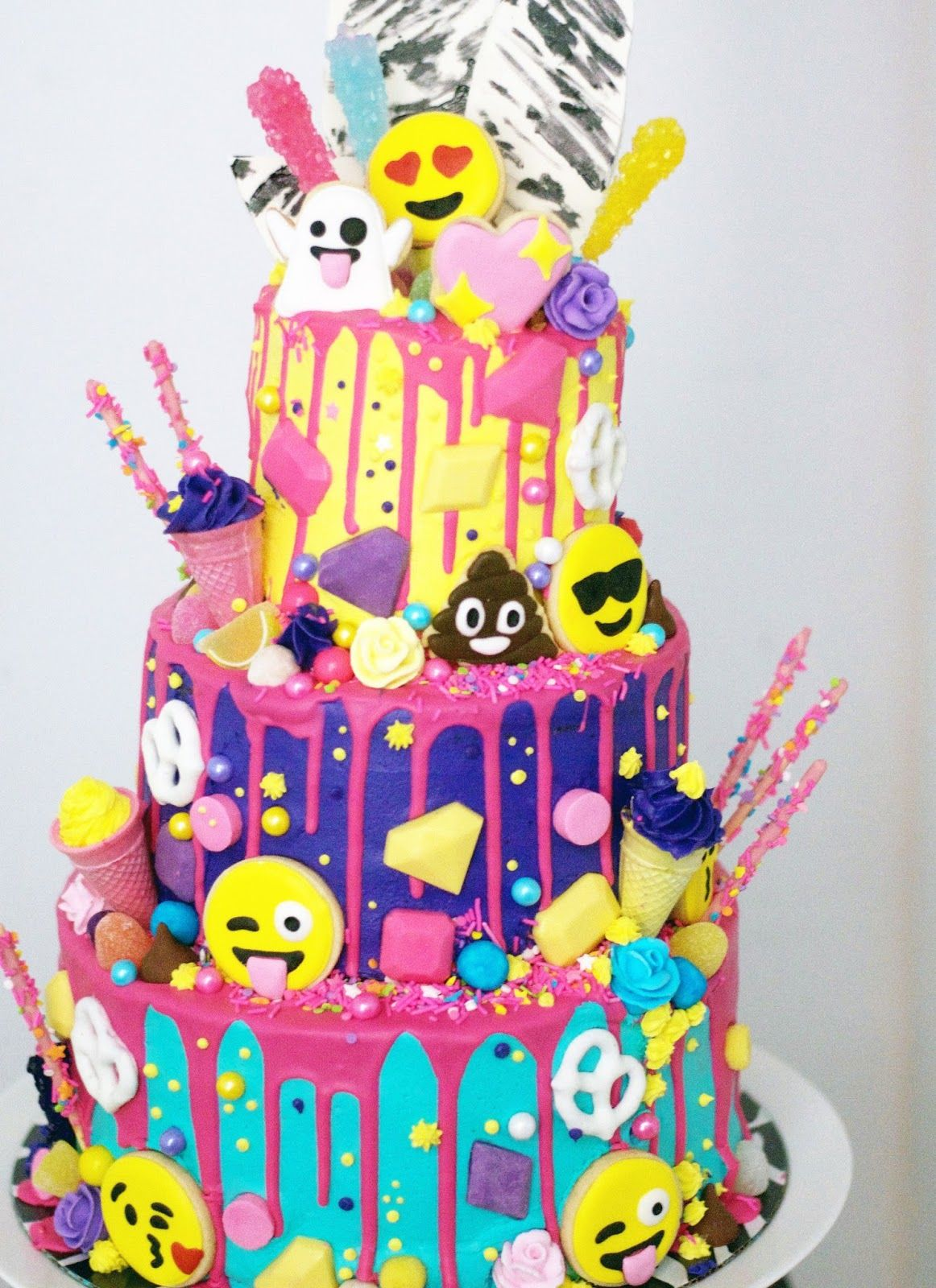 This Might Be My Favorite Build A Cake To Date The Incredible Lynzie At Love By Lynzie Asked Me To Make This Three Emoji Birthday Cake Emoji Cake Party Cakes