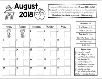 Monthly Behavior Chart Clip
