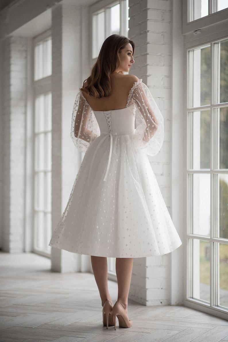 Boho wedding dress tea length short mini tulle peas light