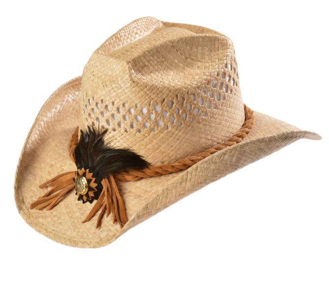 fcf737e20ff16 Shady Brady Crushable Straw Suede with Feather   Concho Band Cowboy Hat  available at  Sheplers