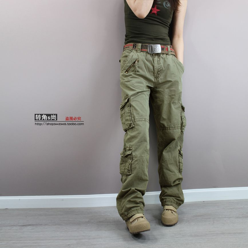 cba196b2bf156 Free shipping New 2014 Fashion plus size Green camouflage cargo pants women  army fatigue pants loose jeans baggy sport pants £32.65