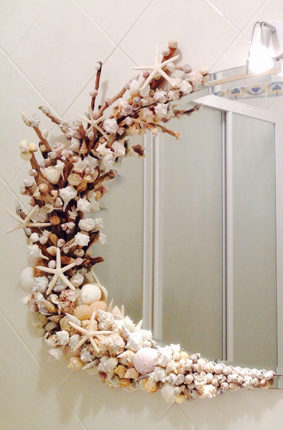 Specchi Decorati Per Bagno.Specchio Decorato Con Le Conchiglie E Bastoncini Trovati Sulla