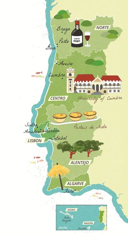 Illustrated map of Portugal - Bek Cruddace | Classroom Ideas in 2019 ...