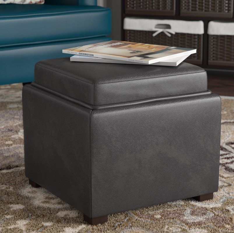 Newfield Tray Leather Cube Storage Ottoman Cube Storage Round
